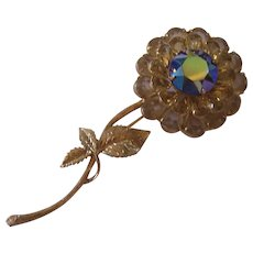 Unusual Multi Tiered Extra Large Flower Brooch Gold tone