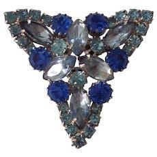 Lovely Layered Triangular Rhinestone Brooch in Shades of Blue in Silver tone