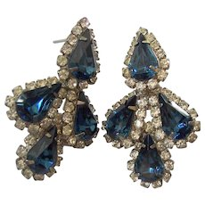 Sapphire Blue Pear Shaped Rhinestones Clear Rhinestones Pierced Earrings Silver tone