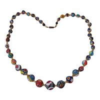 "Beautiful Italian Millefiore Glass Beads 22"" Necklace"