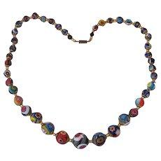 "Beautiful Italian Millefiore Glass Beads 22"" Necklace"