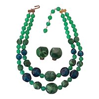 Green Marble Teal & Green Plastic Beads Necklace Earrings Set 50's 60's