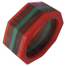 Wide 5 Layer Lucite and Wood Bangle Bracelet Red Green Octagonal