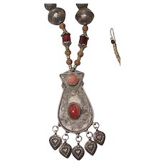 Ethnic Tribal Necklace India Mid Eastern Area Silver tone Dangling Pendant
