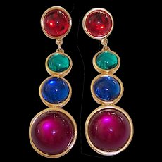 Bold Colorful Long Cabochon Earrings Gold tone - Red Tag Sale Item