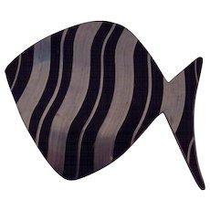 Jorgen Jensen Black Enamel Pewter Fish Brooch Mid Century Modern Denmark