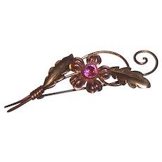 Retro Sterling Van Dell Small Pink & Yellow Gold Fill Pink Rhinestone Flower Brooch