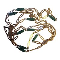 """Vintage 56"""" Long Necklace Green Glass and Textured Gold tone Diamond Links"""