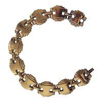 Coro Art Deco Link Bracelet in Gold tone