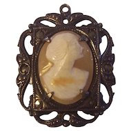 Vintage Sterling Shell Cameo Pendant Marcasites Art Deco
