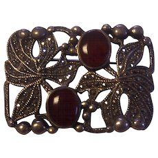 Beautiful Sterling Marcasite Leaves and Carnelian Brooch