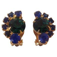 Vintage Blue & Green Crystal Earrings Rhinestone Clip ons Gold tone