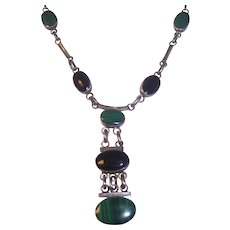 Sterling Silver Malachite & Onyx Dangling Necklace