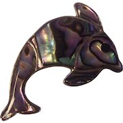 Sterling Abalone Dolphin Brooch Mexico