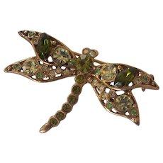 Shades of Green Dragonfly Brooch Gold tone Green Rhinestones