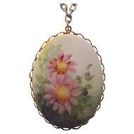 Pretty Pink Flowers on Porcelain Pendant Necklace