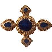 Pretty Ornate Gold tone with Blue Enamel Brooch