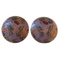 Pretty Enamel Cloisonne Butterfly Earrings