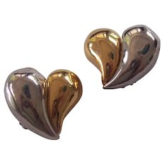 Lovely Givenchy Gold Silver Tone Heart Earrings Two Tone