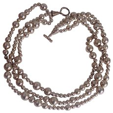 Tiffany & Co Sterling Silver Bead Ball 3 Strand Torsade Toggle Necklace