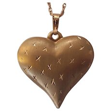 14K Gold Puffy Heart Pendant Necklace Delicate