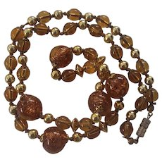 Italian Art Glass Sparkly Beads Necklace Gold Amber Color Sommerso