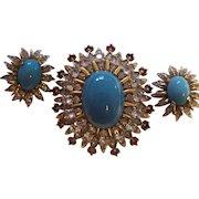 Rare Jomaz Dimensional Brooch & Earrings Joseph Mazer Faux Turquoise