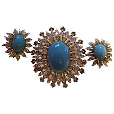 Rare Jomaz Dimensional Brooch & Earrings Joseph Mazer Faux Turquoise