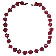 Red Faceted Beaded Necklace Plastic Cubist Beads