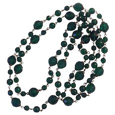 """Extra Long Green Faceted Beaded 60"""" Plastic & Glass Beads"""