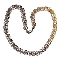 Faux Pearl Double Link Gold tone Necklace