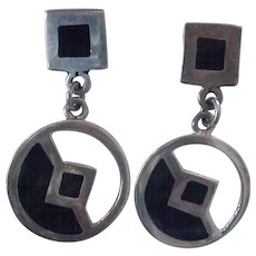 Nice Sterling Mexican Dangle Earrings Black Enamel Pierced