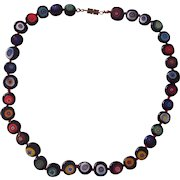 Vintage Italian Millefiore Glass Beaded Necklace Black Flattened Beads