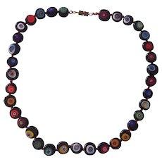 Vintage Italian Millefiore Glass Beaded Necklace Black Flattened Beads