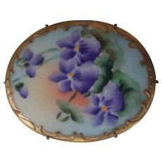Victorian Large Violet or Pansy Porcelain Brooch Hand Painted