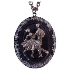Fun Rock and Roll  Swing Jitterbug Dancing Couple Pendant Necklace