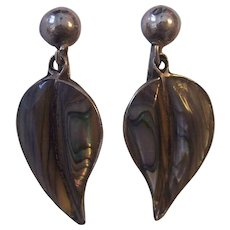 Mexican Sterling Silver Abalone Dangling Leaf Earrings Signed