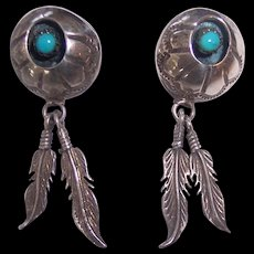 Vintage Silver Navajo Turquoise Shadow Box Dangling Feathers Earrings