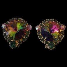 Fabulous D & E Juliana Watermelon Rivoli Earrings Gold tone