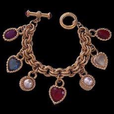 Designer Style Hearts Charm Bracelet Double Link Gold tone Toggle Clasp
