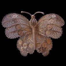 Sterling Silver Filigree Butterfly Brooch Portugal