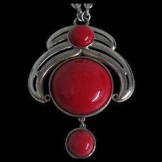 Big, Bold Kramer Red Pendant Necklace Silver tone 1960's