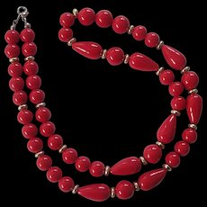 Vintage Red Lucite Beaded Necklace
