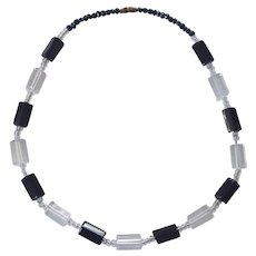 Nice Black and Clear Glass Bead Necklace