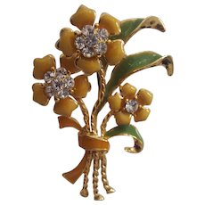 Enamel Bunch of Flowers w/ Rhinestones Brooch