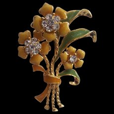 Enamel Bunch of Flowers w/ Rhinestones Brooch