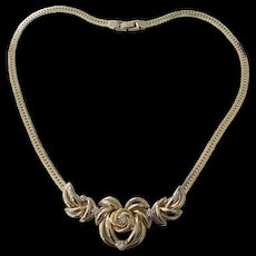 Lovely Swirly Flower Necklace with Rhinestones in Gold tone