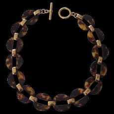 Tortoise shell Lucite Gold tone Link Necklace Ralph Lauren
