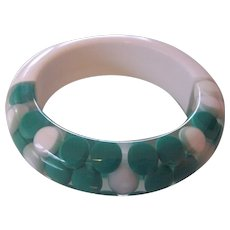 Lucite Floating Dots Green White Bangle Mid Century Bracelet