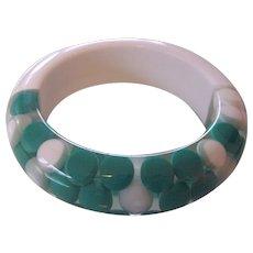 Lucite Floating Dots Green White Bangle Mid Century Bracelet